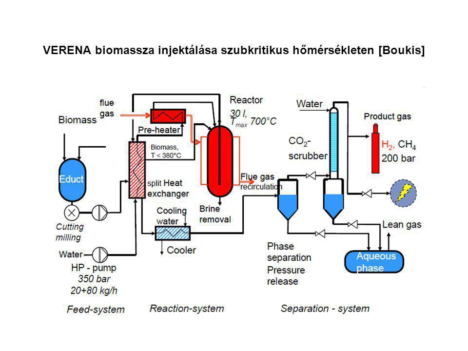 VERENA biomassza injektálása szubkritikus hőmérsékleten [Boukis]