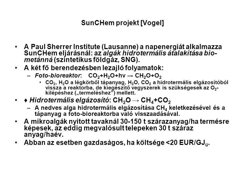 SunCHem projekt [Vogel] A Paul Sherrer Institute (Lausanne) a napenergiát alkalmazza SunCHem eljárásnál: az algák hidrotermális átalakítása bio- metán