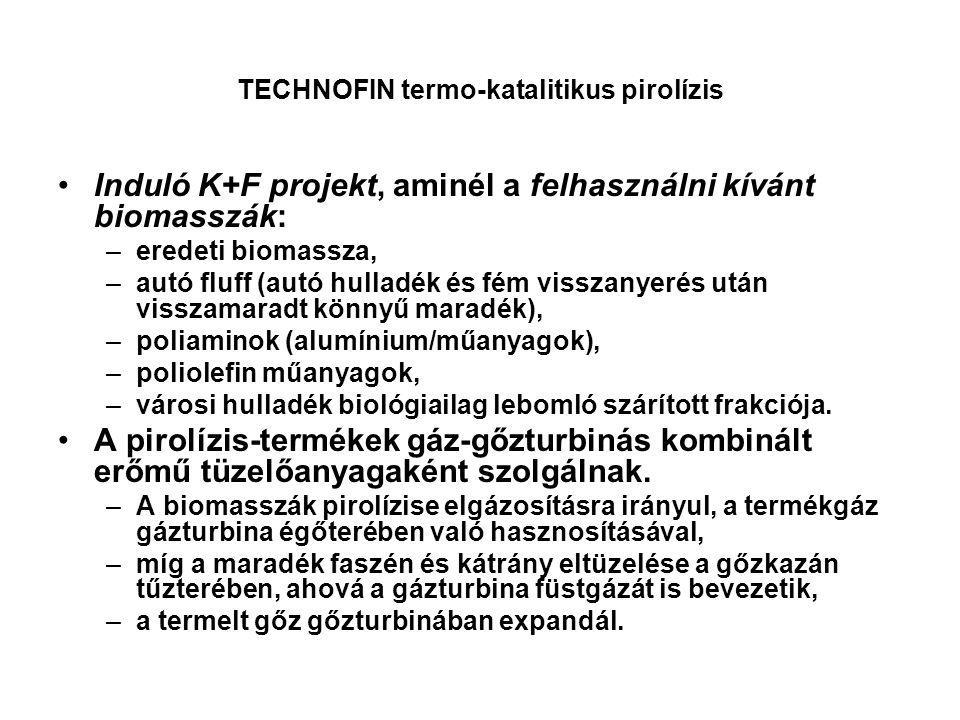 TECHNOFIN termo-katalitikus pirolízis Induló K+F projekt, aminél a felhasználni kívánt biomasszák: –eredeti biomassza, –autó fluff (autó hulladék és f