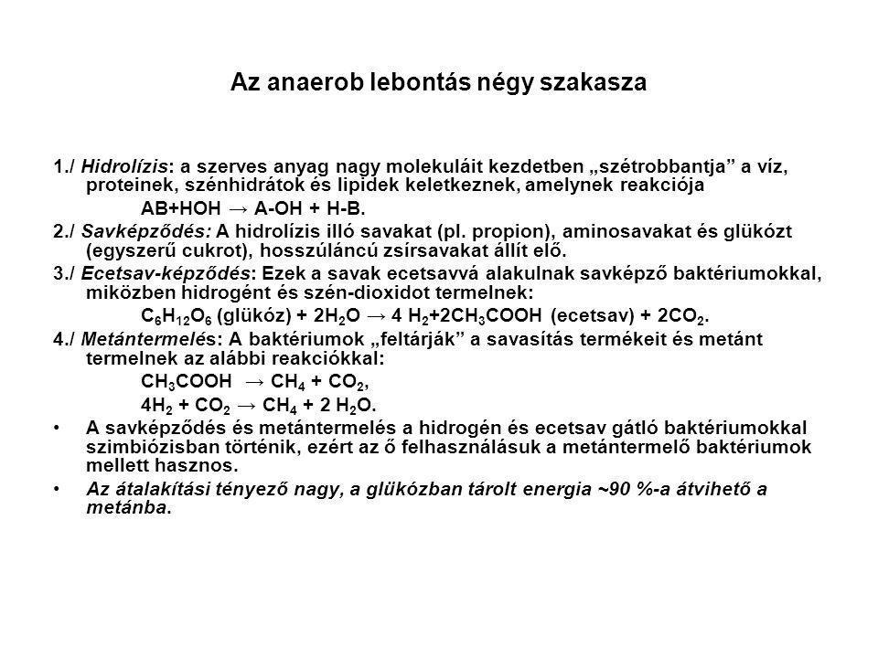 """Az anaerob lebontás négy szakasza 1./ Hidrolízis: a szerves anyag nagy molekuláit kezdetben """"szétrobbantja"""" a víz, proteinek, szénhidrátok és lipidek"""