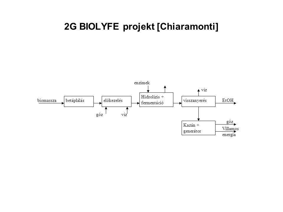 2G BIOLYFE projekt [Chiaramonti] betápláláselőkezelés Hidrolízis + fermentáció visszanyerés Kazán + generátor gőz EtOHbiomassza víz Villamos energia g