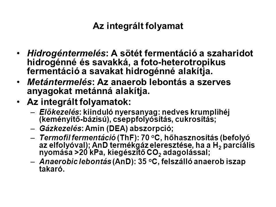 Az integrált folyamat Hidrogéntermelés: A sötét fermentáció a szaharidot hidrogénné és savakká, a foto-heterotropikus fermentáció a savakat hidrogénné