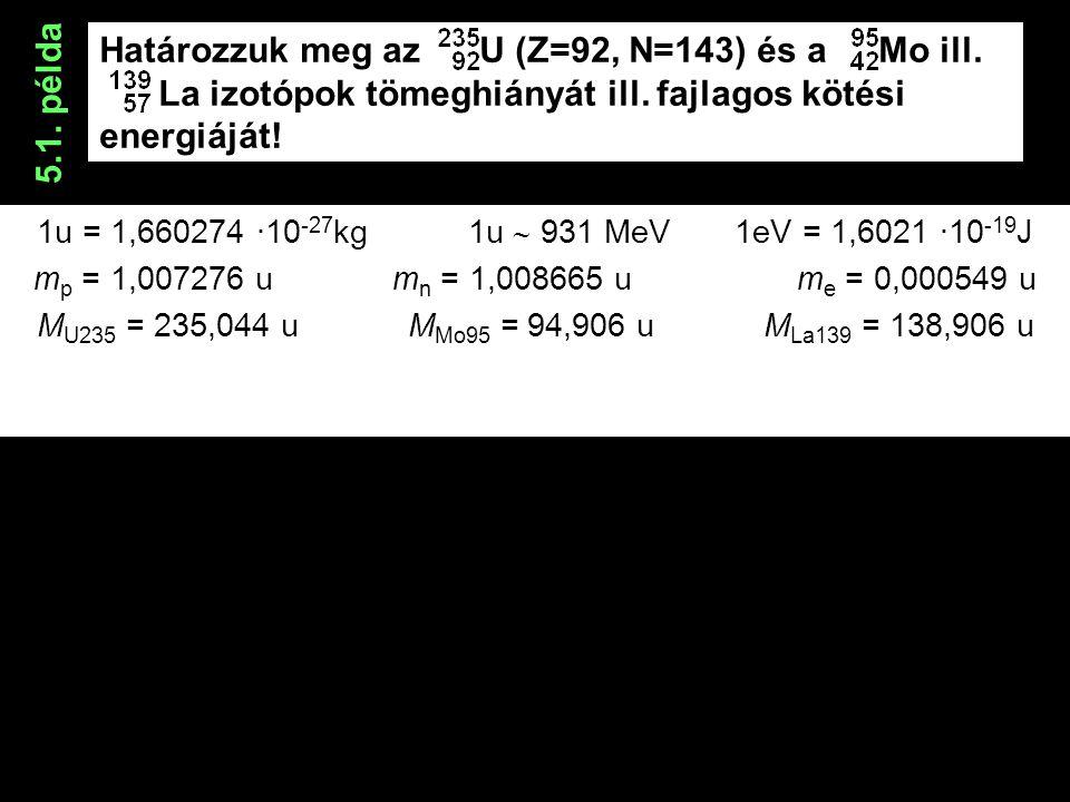Határozzuk meg az U (Z=92, N=143) és a Mo ill. La izotópok tömeghiányát ill.
