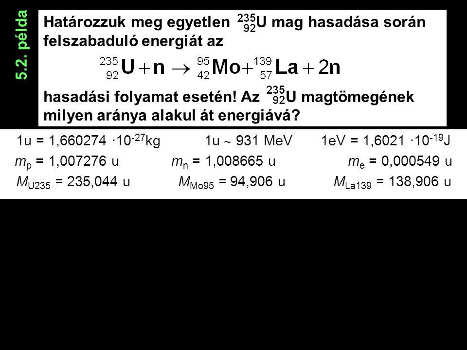 Határozzuk meg egyetlen U mag hasadása során felszabaduló energiát az hasadási folyamat esetén.