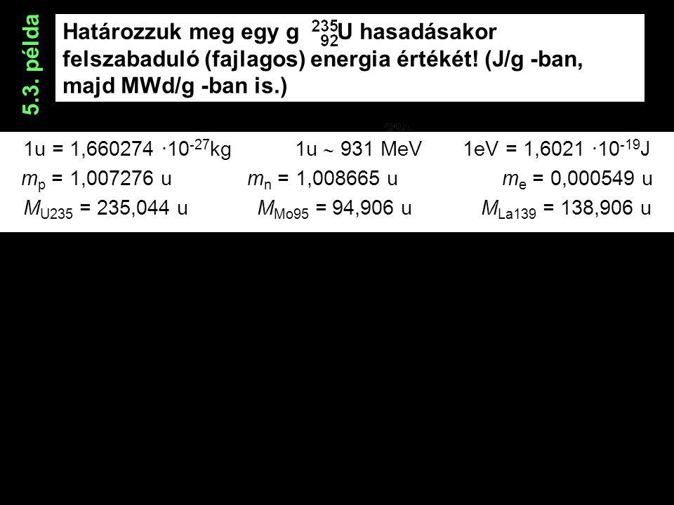 Határozzuk meg egy g U hasadásakor felszabaduló (fajlagos) energia értékét.