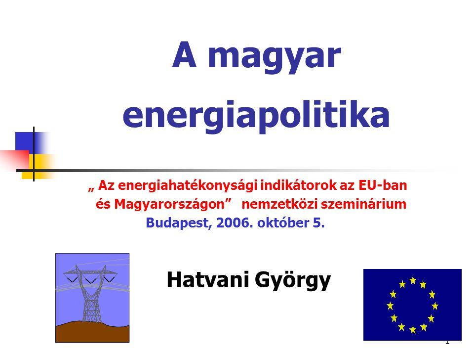"""1 A magyar energiapolitika """" Az energiahatékonysági indikátorok az EU-ban és Magyarországon nemzetközi szeminárium Budapest, 2006."""