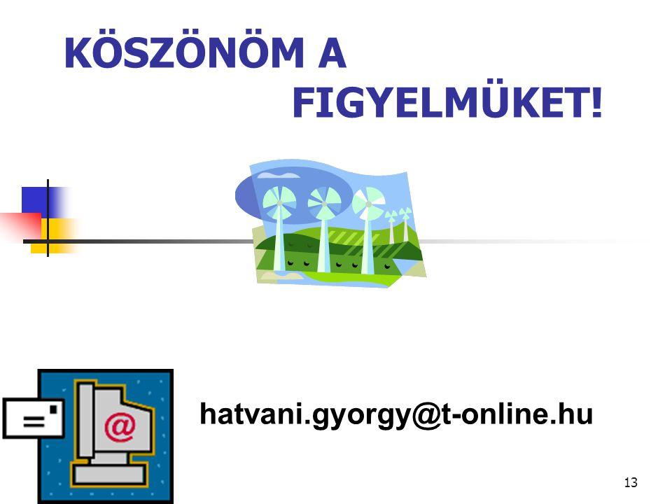 13 KÖSZÖNÖM A FIGYELMÜKET! hatvani.gyorgy@t-online.hu