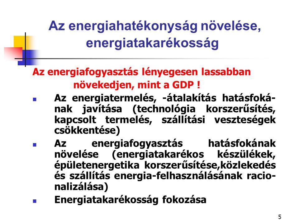 6 Energiahatékonyság növelő programok Nemzeti Energiahatékonysági Akcióterv kidolgozása, a szükséges pénzügyi alap biztosításával Kiemelt cél a lakossági energiatakarékosság támogatása, az épületenergetikai korszerűsí- tések, valamint az energiatakarékos fogyasztói berendezések elterjesztése terén A szállítás és közlekedés területén energiatakarékossági intézkedéseket kell hozni a szokások megváltoztatása, a járművek fajlagos fogyasztásának csökkentése és a bioüzemanya- gok elterjesztése érdekében