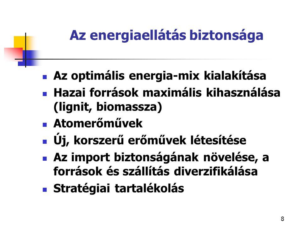 8 Az energiaellátás biztonsága Az optimális energia-mix kialakítása Hazai források maximális kihasználása (lignit, biomassza) Atomerőművek Új, korszerű erőművek létesítése Az import biztonságának növelése, a források és szállítás diverzifikálása Stratégiai tartalékolás