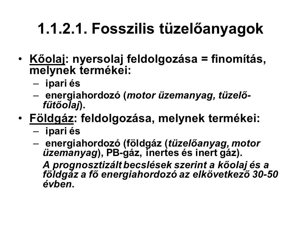 1.1.2.1. Fosszilis tüzelőanyagok Kőolaj: nyersolaj feldolgozása = finomítás, melynek termékei: – ipari és – energiahordozó (motor üzemanyag, tüzelő- f