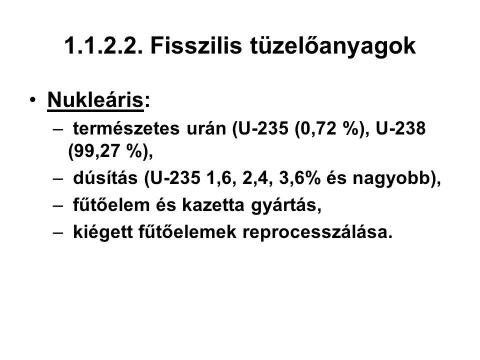 1.1.2.2. Fisszilis tüzelőanyagok Nukleáris: – természetes urán (U-235 (0,72 %), U-238 (99,27 %), – dúsítás (U-235 1,6, 2,4, 3,6% és nagyobb), – fűtőel