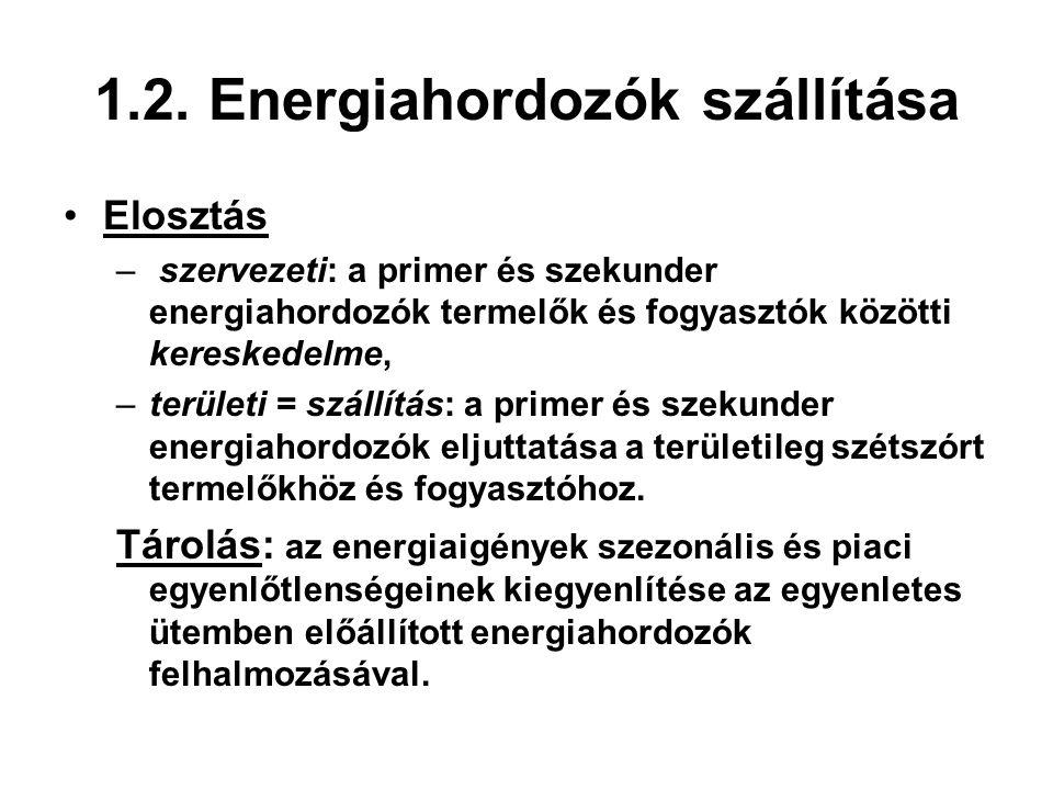 1.2. Energiahordozók szállítása Elosztás – szervezeti: a primer és szekunder energiahordozók termelők és fogyasztók közötti kereskedelme, –területi =