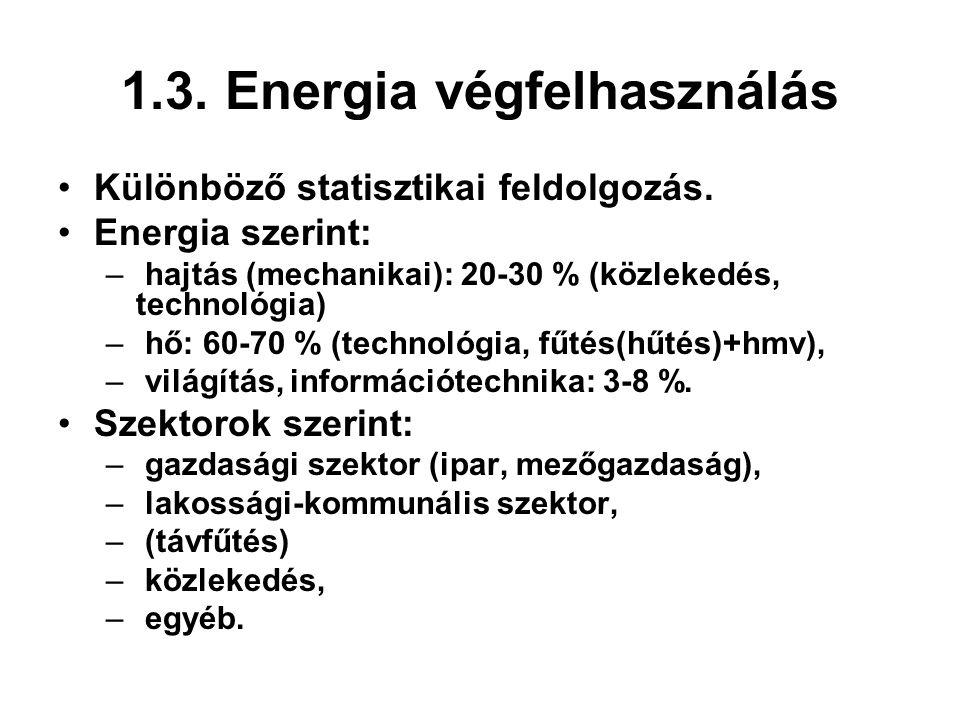 1.3. Energia végfelhasználás Különböző statisztikai feldolgozás. Energia szerint: – hajtás (mechanikai): 20-30 % (közlekedés, technológia) – hő: 60-70