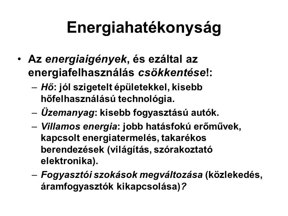 Energiahatékonyság Az energiaigények, és ezáltal az energiafelhasználás csökkentése!: –Hő: jól szigetelt épületekkel, kisebb hőfelhasználású technológ