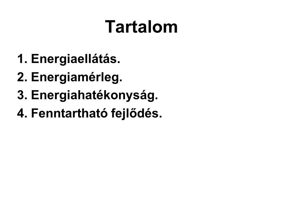 Tartalom 1. Energiaellátás. 2. Energiamérleg. 3. Energiahatékonyság. 4. Fenntartható fejlődés.