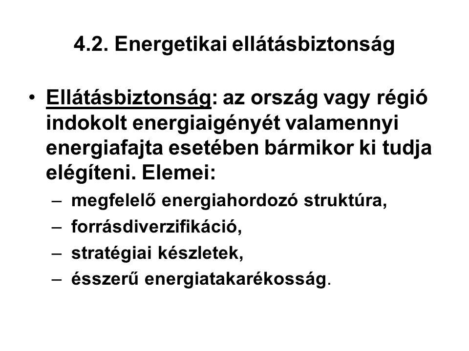4.2. Energetikai ellátásbiztonság Ellátásbiztonság: az ország vagy régió indokolt energiaigényét valamennyi energiafajta esetében bármikor ki tudja el