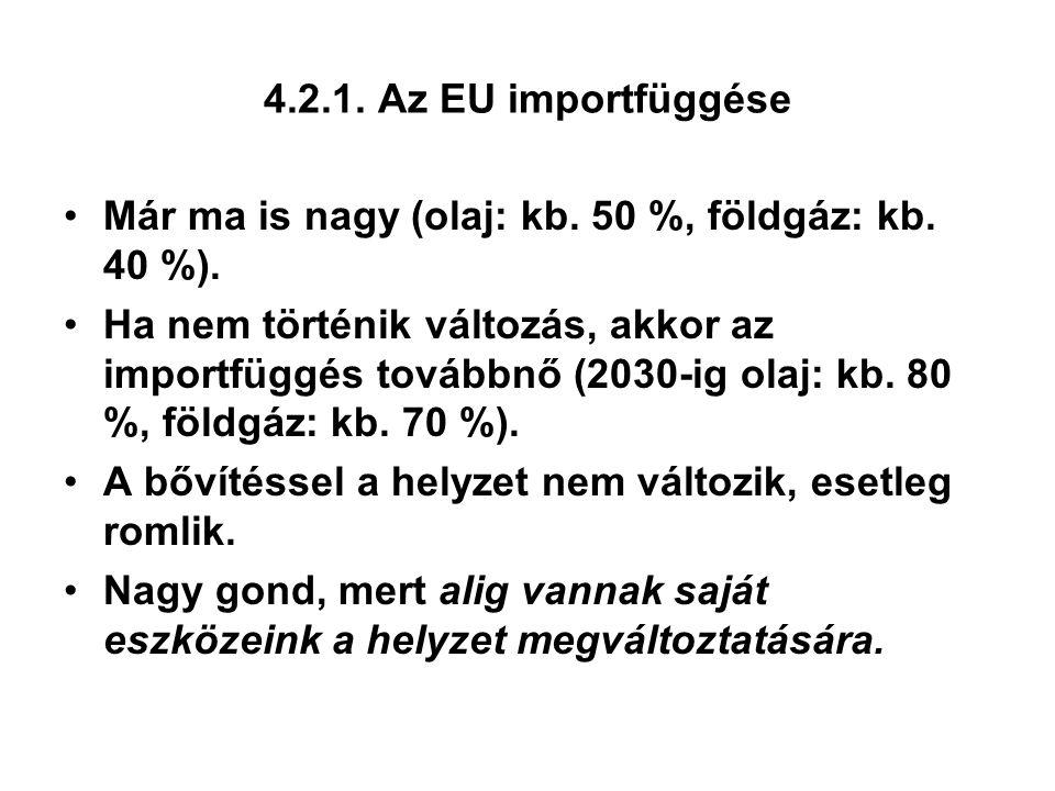 4.2.1. Az EU importfüggése Már ma is nagy (olaj: kb. 50 %, földgáz: kb. 40 %). Ha nem történik változás, akkor az importfüggés továbbnő (2030-ig olaj: