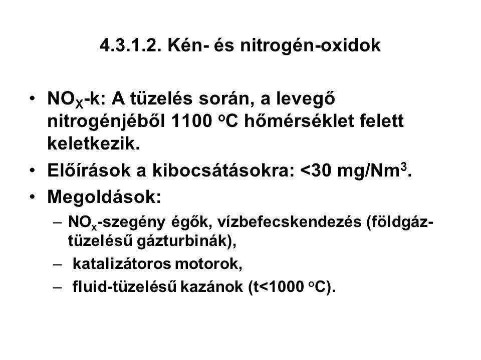 4.3.1.2. Kén- és nitrogén-oxidok NO X -k: A tüzelés során, a levegő nitrogénjéből 1100 o C hőmérséklet felett keletkezik. Előírások a kibocsátásokra:
