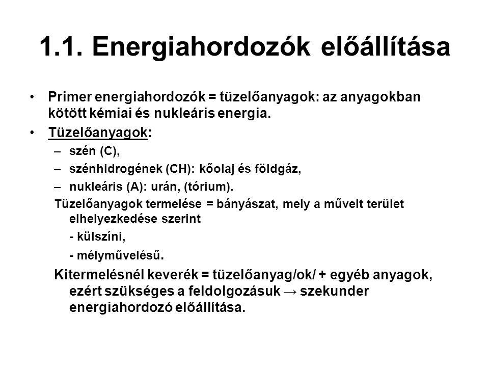 1.1. Energiahordozók előállítása Primer energiahordozók = tüzelőanyagok: az anyagokban kötött kémiai és nukleáris energia. Tüzelőanyagok: –szén (C), –