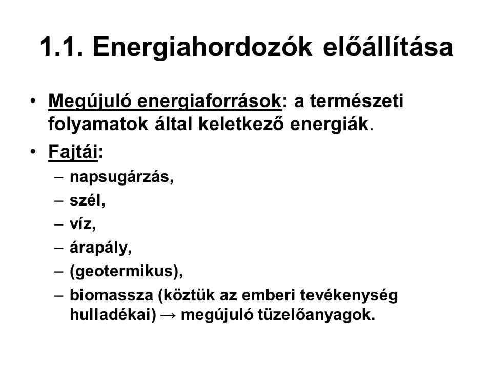 1.1. Energiahordozók előállítása Megújuló energiaforrások: a természeti folyamatok által keletkező energiák. Fajtái: –napsugárzás, –szél, –víz, –árapá