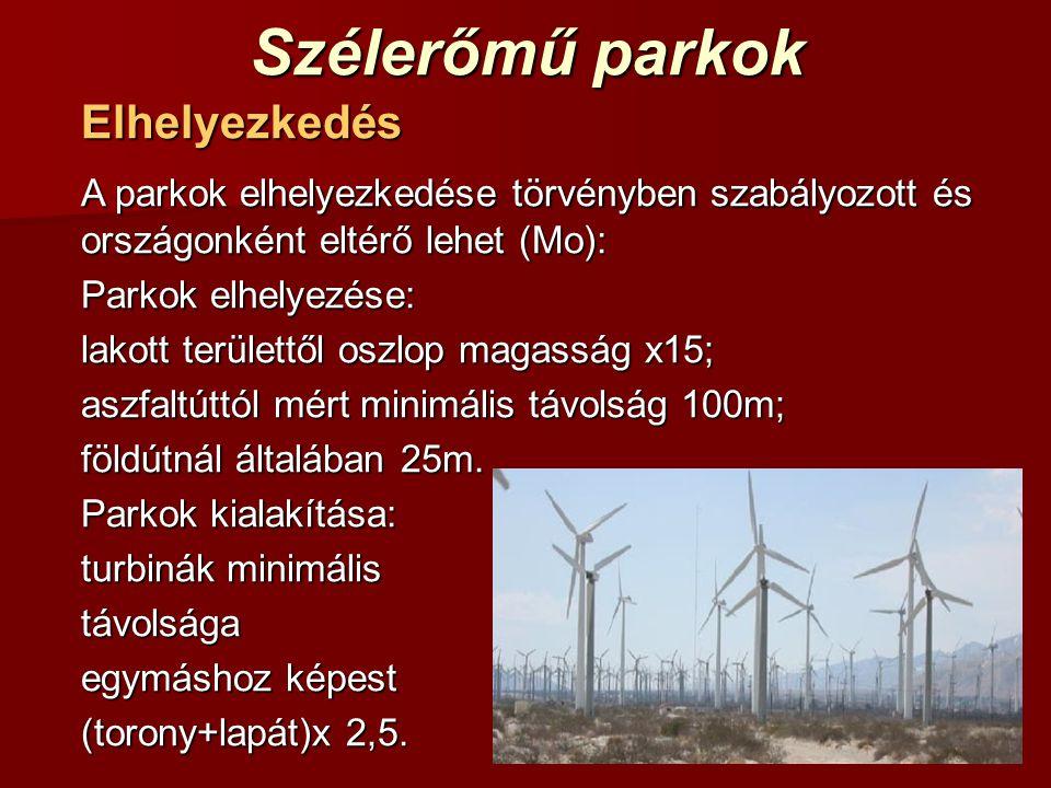 Szélerőmű parkok Elhelyezkedés A parkok elhelyezkedése törvényben szabályozott és országonként eltérő lehet (Mo): Parkok elhelyezése: lakott területtől oszlop magasság x15; aszfaltúttól mért minimális távolság 100m; földútnál általában 25m.