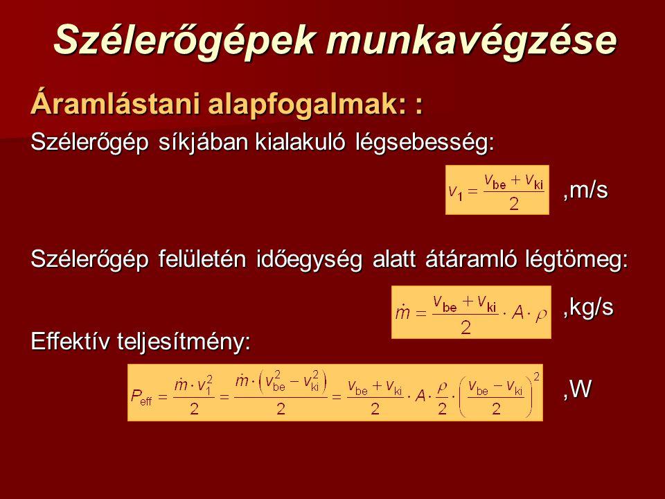 Szélerőgépek munkavégzése Áramlástani alapfogalmak: : Szélerőgép síkjában kialakuló légsebesség:,m/s Szélerőgép felületén időegység alatt átáramló légtömeg:,kg/s Effektív teljesítmény:,W