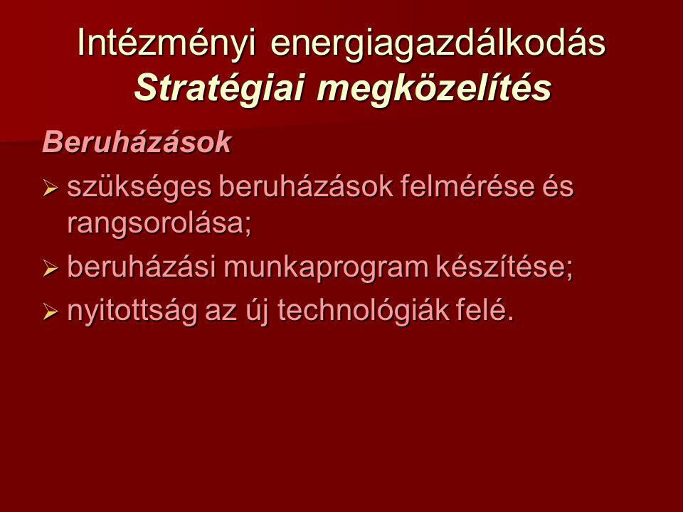Intézményi energiagazdálkodás Stratégiai megközelítés Beruházások  szükséges beruházások felmérése és rangsorolása;  beruházási munkaprogram készíté