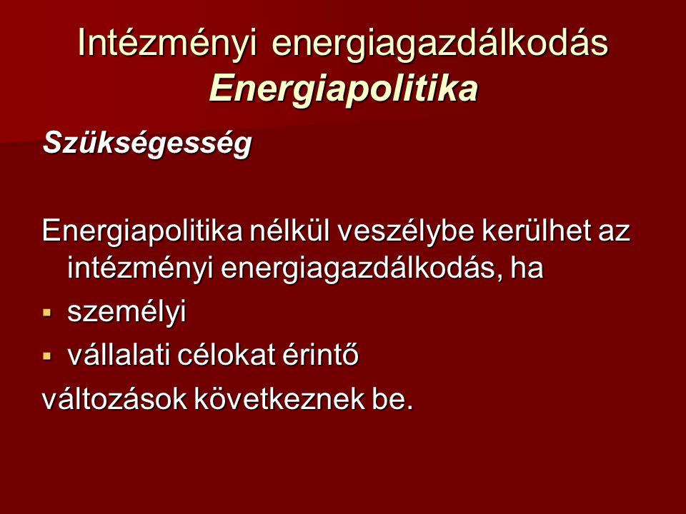 Intézményi energiagazdálkodás Energiapolitika Szükségesség Energiapolitika nélkül veszélybe kerülhet az intézményi energiagazdálkodás, ha  személyi 
