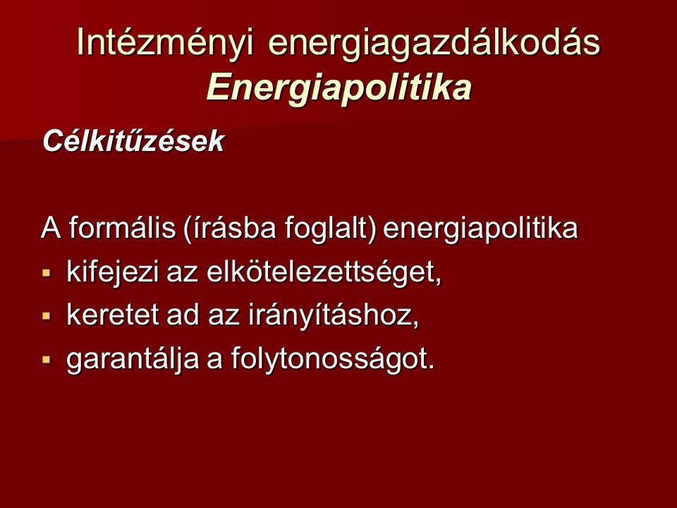 Intézményi energiagazdálkodás Energiapolitika Célkitűzések A formális (írásba foglalt) energiapolitika  kifejezi az elkötelezettséget,  keretet ad a