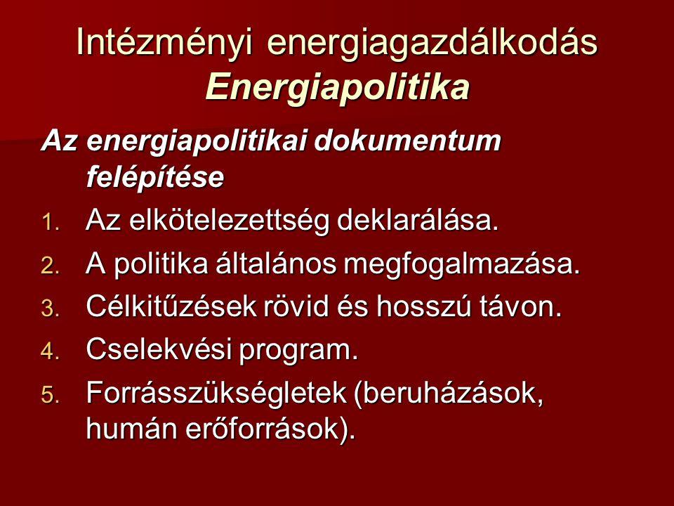 Intézményi energiagazdálkodás Energiapolitika Az energiapolitikai dokumentum felépítése 1. Az elkötelezettség deklarálása. 2. A politika általános meg
