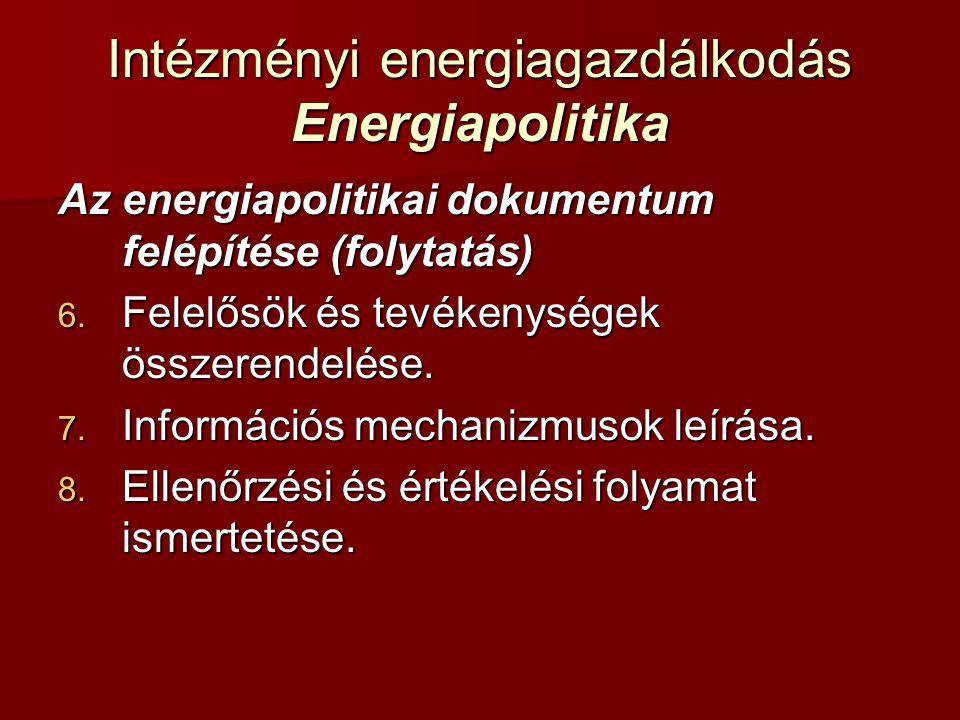 Intézményi energiagazdálkodás Energiapolitika Az energiapolitikai dokumentum felépítése (folytatás) 6. Felelősök és tevékenységek összerendelése. 7. I