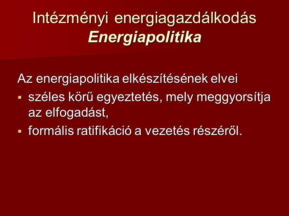 Intézményi energiagazdálkodás Energiapolitika Az energiapolitika elkészítésének elvei  széles körű egyeztetés, mely meggyorsítja az elfogadást,  for