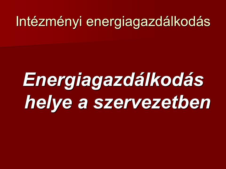 Intézményi energiagazdálkodás Energiagazdálkodás helye a szervezetben