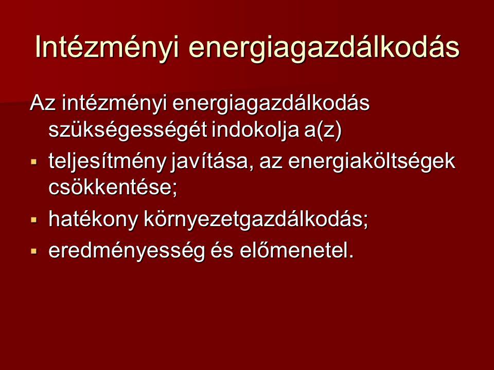 Intézményi energiagazdálkodás Stratégiai megközelítés Folyamatos ellenőrzés  információs (adatgyűjtő és elemző) rendszer kialakítása;  a fogyasztás ellenőrzésének fenntartása;  energiamegtakarítások megőrzése;  beruházások védelme.