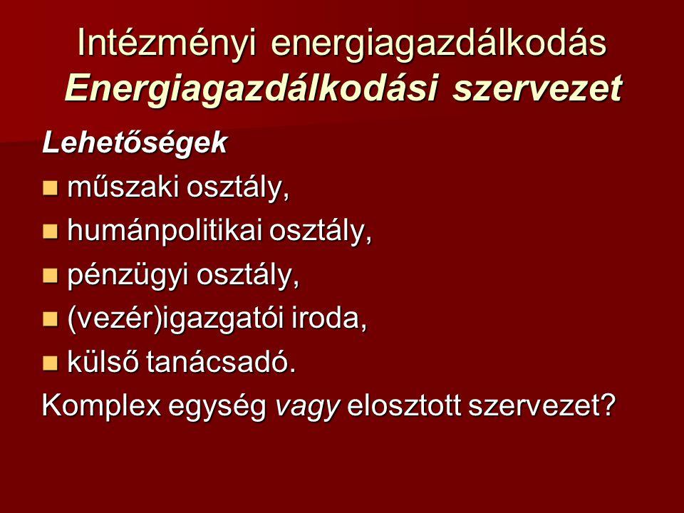 Intézményi energiagazdálkodás Energiagazdálkodási szervezet Lehetőségek műszaki osztály, műszaki osztály, humánpolitikai osztály, humánpolitikai osztá