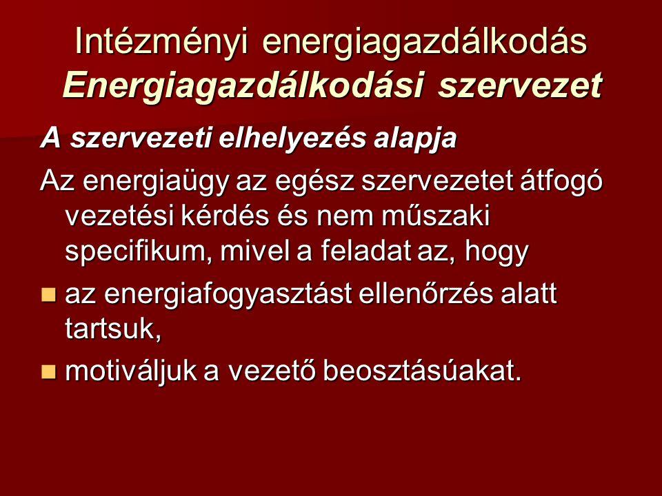 Intézményi energiagazdálkodás Energiagazdálkodási szervezet A szervezeti elhelyezés alapja Az energiaügy az egész szervezetet átfogó vezetési kérdés é