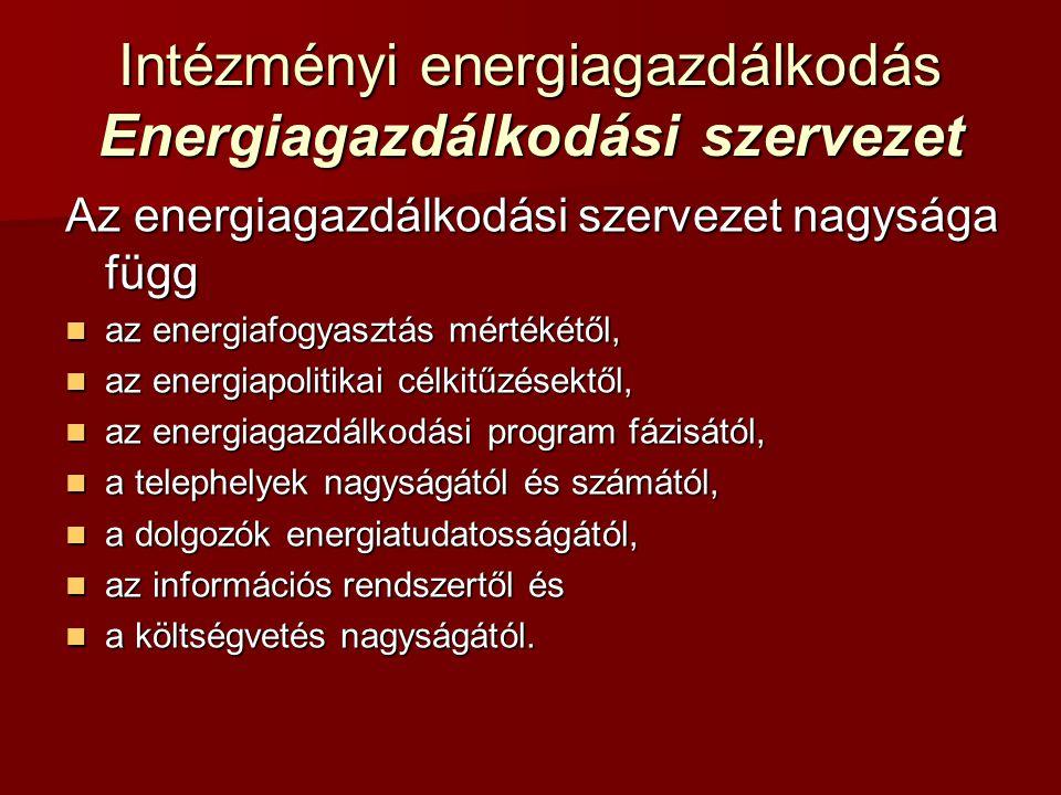 Az energiagazdálkodási szervezet nagysága függ az energiafogyasztás mértékétől, az energiafogyasztás mértékétől, az energiapolitikai célkitűzésektől,