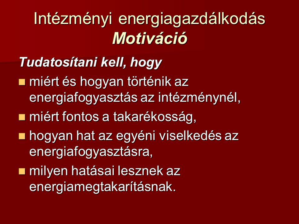 Intézményi energiagazdálkodás Motiváció Tudatosítani kell, hogy miért és hogyan történik az energiafogyasztás az intézménynél, miért és hogyan történi