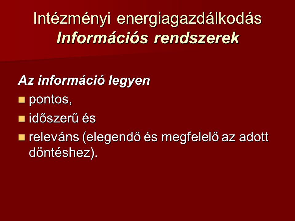 Intézményi energiagazdálkodás Információs rendszerek Az információ legyen pontos, pontos, időszerű és időszerű és releváns (elegendő és megfelelő az a