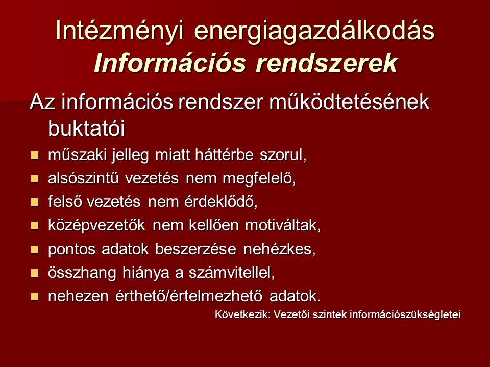 Intézményi energiagazdálkodás Információs rendszerek Az információs rendszer működtetésének buktatói műszaki jelleg miatt háttérbe szorul, műszaki jel