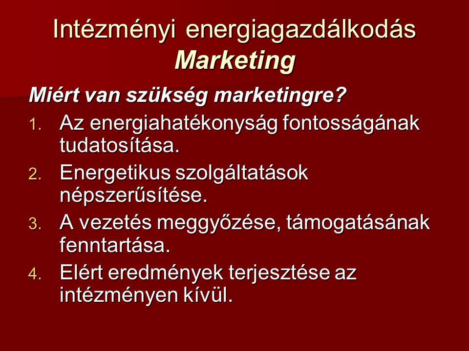 Intézményi energiagazdálkodás Marketing Miért van szükség marketingre? 1. Az energiahatékonyság fontosságának tudatosítása. 2. Energetikus szolgáltatá