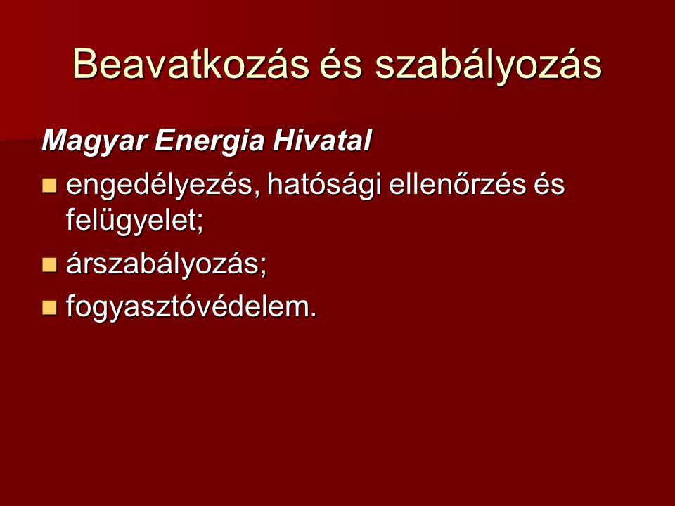 Beavatkozás és szabályozás Magyar Energia Hivatal engedélyezés, hatósági ellenőrzés és felügyelet; engedélyezés, hatósági ellenőrzés és felügyelet; ár