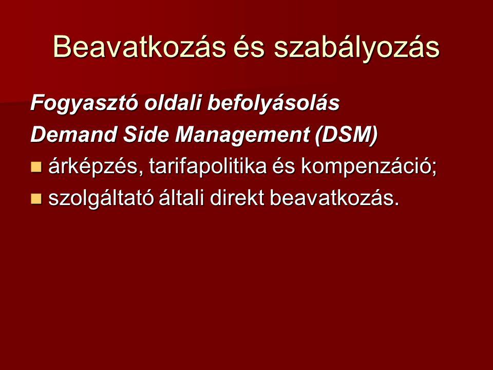 Beavatkozás és szabályozás Fogyasztó oldali befolyásolás Demand Side Management (DSM) árképzés, tarifapolitika és kompenzáció; árképzés, tarifapolitik