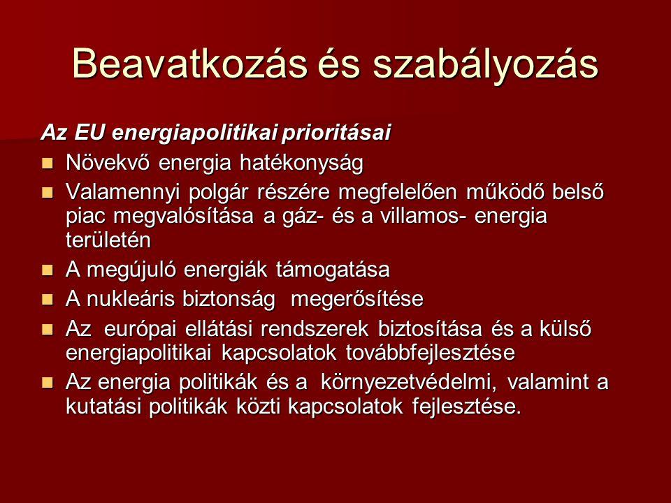 Beavatkozás és szabályozás Az EU energiapolitikai prioritásai Növekvő energia hatékonyság Növekvő energia hatékonyság Valamennyi polgár részére megfel