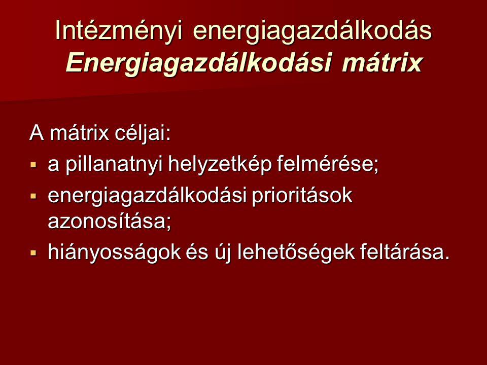 Intézményi energiagazdálkodás Energiagazdálkodási mátrix A mátrix céljai:  a pillanatnyi helyzetkép felmérése;  energiagazdálkodási prioritások azon