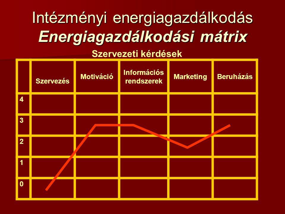 Intézményi energiagazdálkodás Energiagazdálkodási mátrix Célok:  a kiegyensúlyozott intézményi energiagazdálkodási profil kialakítása;  a felső vezetés támogatásának megszerzése;  az energiagazdálkodás integrálása az intézményi szervezetbe;  információs csatornák kialakítása és hatékony működtetése;  motivációs rendszerek kialakítása.