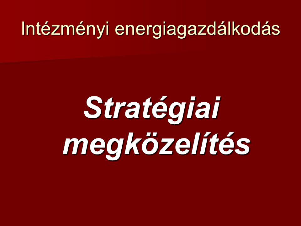 Intézményi energiagazdálkodás Energiagazdálkodási szervezet Lehetőségek műszaki osztály, műszaki osztály, humánpolitikai osztály, humánpolitikai osztály, pénzügyi osztály, pénzügyi osztály, (vezér)igazgatói iroda, (vezér)igazgatói iroda, külső tanácsadó.