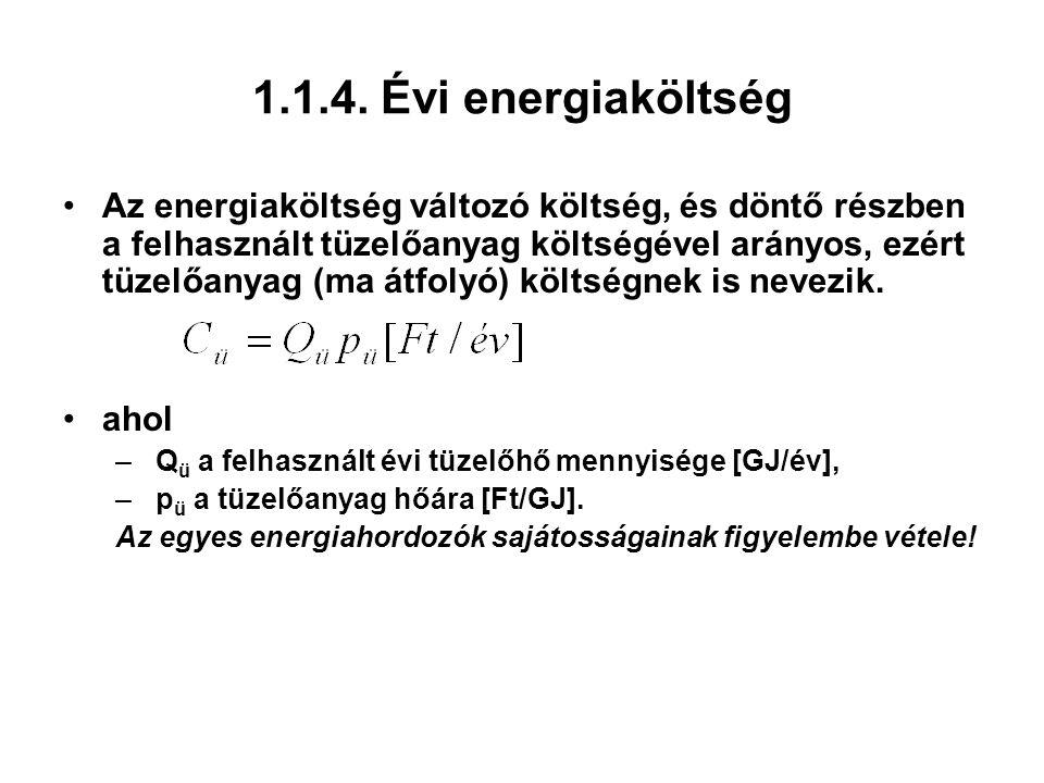 1.1.4. Évi energiaköltség Az energiaköltség változó költség, és döntő részben a felhasznált tüzelőanyag költségével arányos, ezért tüzelőanyag (ma átf