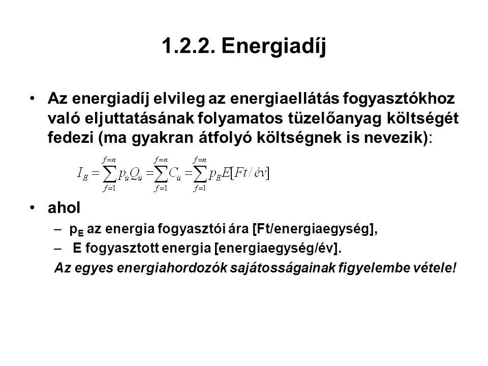 1.2.2. Energiadíj Az energiadíj elvileg az energiaellátás fogyasztókhoz való eljuttatásának folyamatos tüzelőanyag költségét fedezi (ma gyakran átfoly