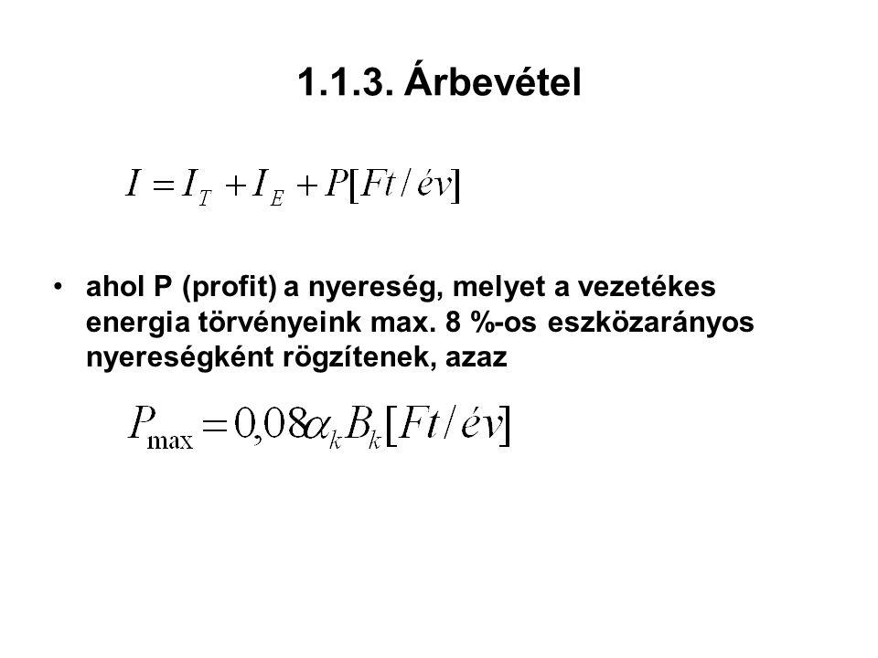 1.1.3. Árbevétel ahol P (profit) a nyereség, melyet a vezetékes energia törvényeink max. 8 %-os eszközarányos nyereségként rögzítenek, azaz